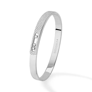 Messika Move Noa Pave Bangle in 18k White Gold with Diamonds - Small