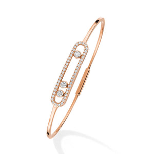 Messika Move Pave Thin Bangle in 18k Pink Gold with Diamonds - Medium