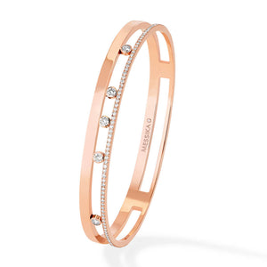 Messika Move Romane Bangle in 18k Pink Gold with Diamonds
