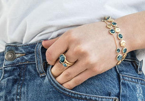 Jaipur Mixed Blue Topaz Bracelet in 18K Yellow Gold