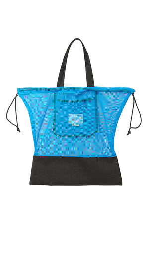Neul Drawstring Mesh Bucket Bag in Ibiza Blue and Black
