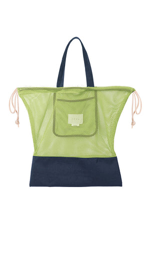 Neul Drawstring Mesh Bucket Bag in Lime Green and Navy