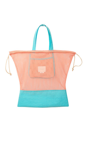Neul Drawstring Mesh Bucket Bag in Papaya Punch in Island Paradise