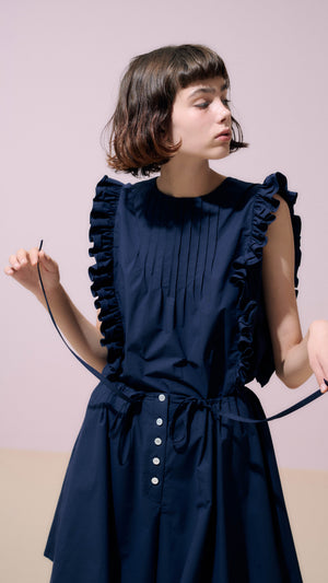 Neul Frill Sleeveless Blouse Top in Navy