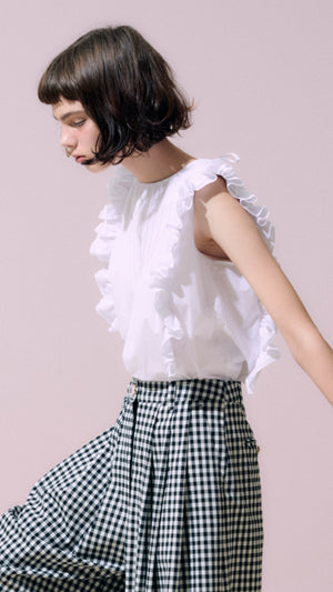Neul Frill Sleeveless Blouse Top in White