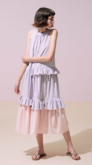 Neul Frilled Trapeze Dress in Purple Rose and Pink Salt Gingham Print