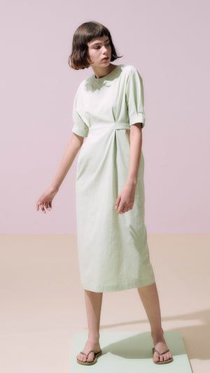 Neul High Waist Dolman Sleeve Dress in Lime Cream