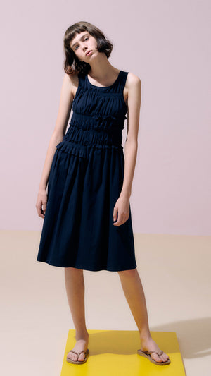 Neul Smocked Shirring Dress in Navy