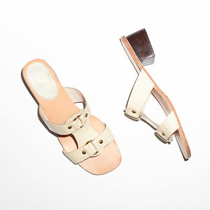 No. 6 Beau Ring Sandal in Chalk Crinkle - Ecru