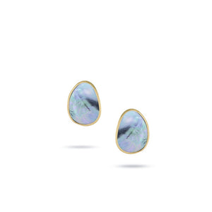 Lunaria Collection Flat Gold Mother of Pearl Medium Stud Earrings in 18K Yellow Gold