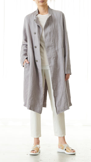 Pas de Calais Long Linen Coat in Grey