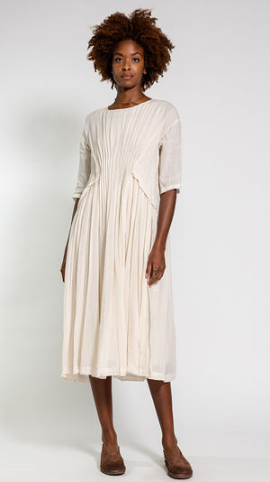 Pas de Calais Natural Dye Dress in Ecru