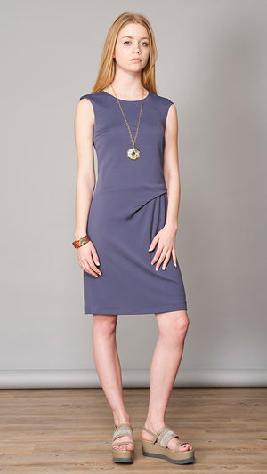 Dress with Side Pleat - Blue