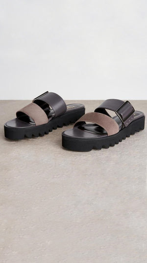 Peserico Platform Slide in Leather and Suede