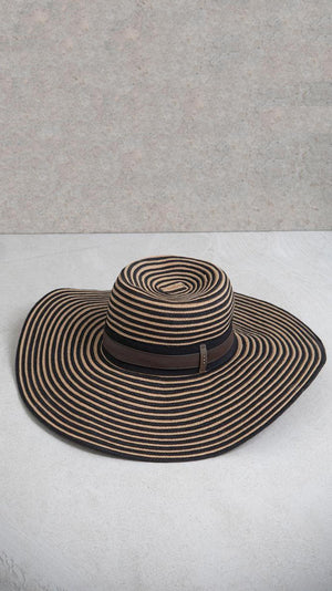 Peserico Wide Brimmed Hat with Stripes and Grosgrain Ribbon