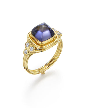 Temple St. Clair Classic Sugar Loaf Ring with Iolite and Diamonds in 18K Yellow Gold