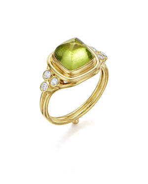 Temple St. Clair Classic Sugar Loaf Ring with Peridot and Diamonds in 18K Yellow Gold