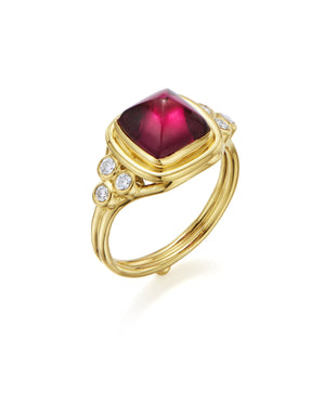 Temple St. Clair Classic Sugar Loaf Ring with Rubellite and Diamonds in 18K Yellow Gold