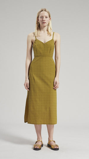 Rachel Comey Agitator Dress in Caper Solid Stretchy Plaid