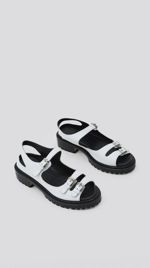 Rachel Comey Adams Sandal in White Pebbled Leather
