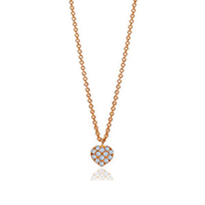 Signature 18K Rose Gold Heart Necklace .42 ct t.w. Pave Set Diamonds with Engraveable Back