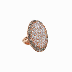 Signature 18k Rose Gold Oval Shape Ring With Diamonds