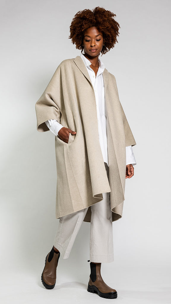 Sofie D'Hoore Carra Double Faced Wool/Cashmere Coat in Oatmeal