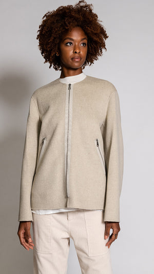 Sofie D'Hoore Courbet Short Zip Coat in Oatmeal