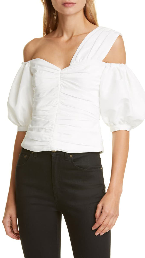 Self Portrait Off the Shoulder Ruched Taffeta Top in Ivory