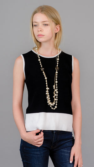 Sleeveless Crew Neck Sweater - Black/White - On Sale
