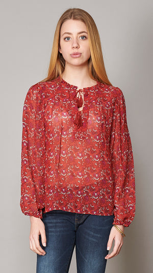Amalie Blouse - Ruby Floral Print - On Sale