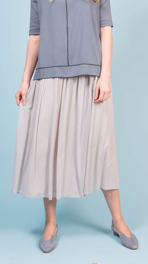Silk Maxi Skirt - Light Gray