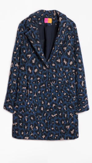 Vilagallo Alberta Coat in Blue Mimetic Leopard
