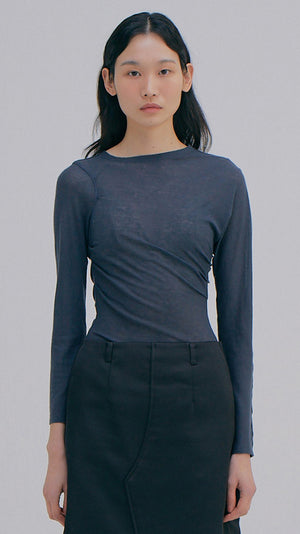 Wnderkammer Drape Sheer Tee in Charcoal