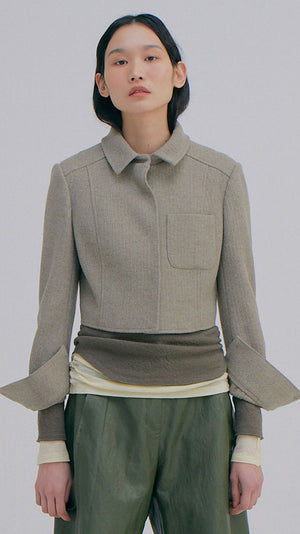 Wnderkammer Knitted Crop Jacket in Light Grey