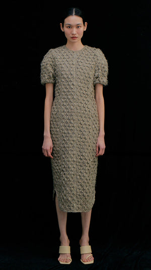 Wnderkammer Round Knitted Dress in Khaki