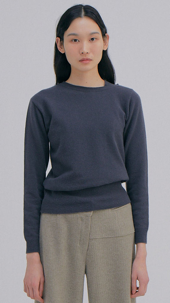 Wnderkammer Unbalanced Cashmere Top in Charcoal