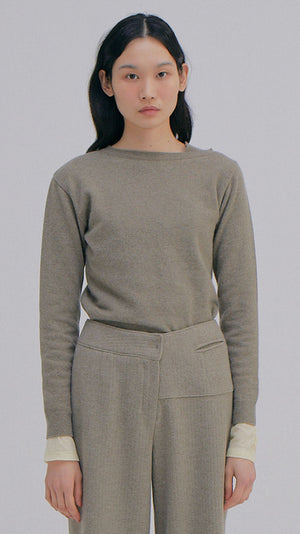 Wnderkammer Unbalanced Cashmere Top in Khaki