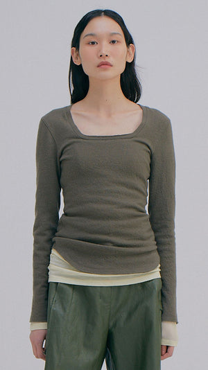 Wnderkammer Wool Square Neck Tee in Khaki