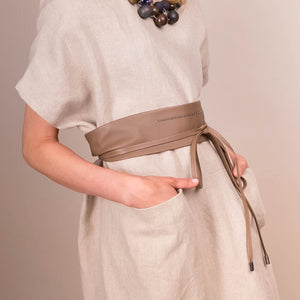 Peserico Leather Wrap Belt with Silver Bead Detail - Taupe