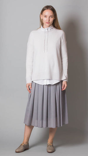 Pleated Midi Skirt - Light Gray