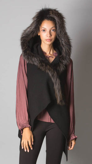 Fabiana Filippi Cashmere Cardigan With Genuine Fur Trim