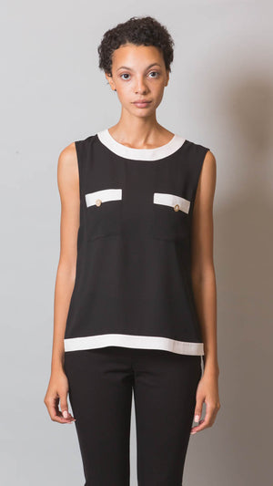Sleeveless Colorblock Blouse - ON SALE