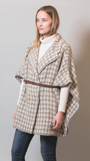 Fabiana Filippi Houndstooth Cape With Detachable Belt