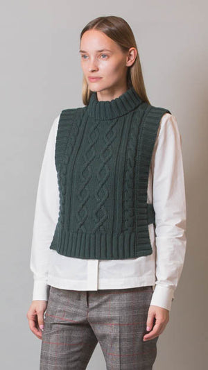 Peserico Green Cable Knit Sweater Vest