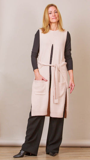 Long Vest With Belt And Pockets - Beige