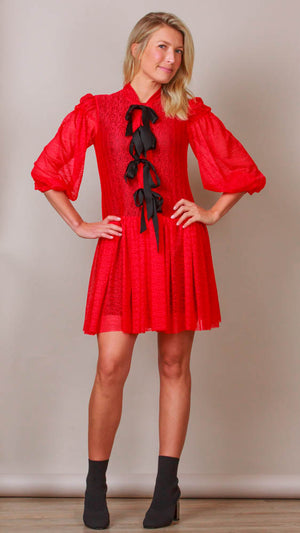 Red Lace Dress With Black Buttons And Bows