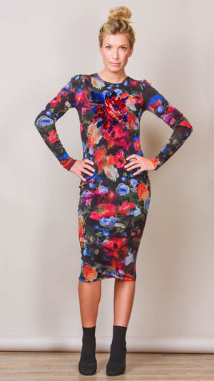 Long Sleeve Floral Print Midi Sheath Dress