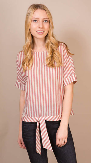Striped Top with Tie Front - Persimmon
