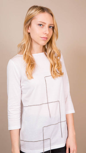 Fabiana Filippi Long Sleeve Tee With Mollini Tassels - White